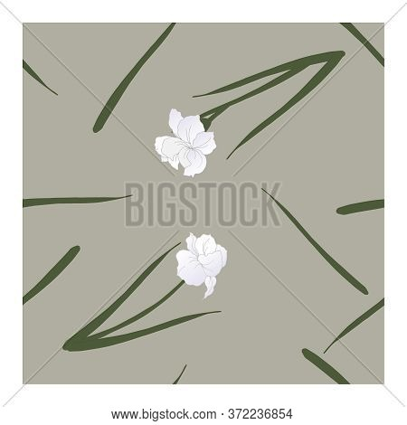 Seamless Pattern With Flowers, Blue-white Buds And Green Leaves Of Iris Flowers On A Gray Background