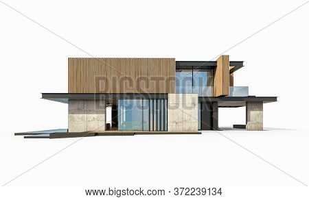 3D Rendering Of Modern House With Wood Plank Facade Isolated On White
