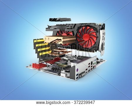 Motherboard Complete With Ram And Video Card In Disassembled Form Isolated On Blue Gradient Backgrou