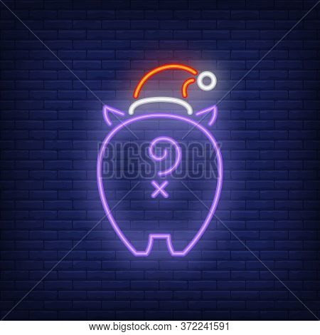 Piggy Tail Neon Sign. Glowing Piglet In Hat With Tail On Dark Blue Brick Background. Can Be Used For