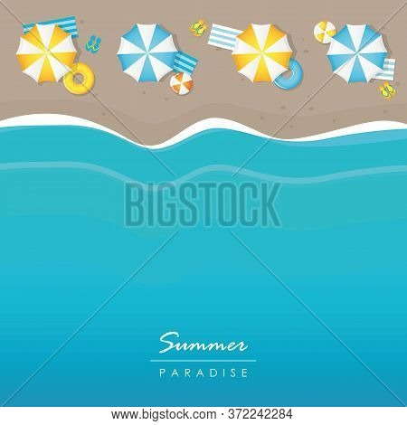 Summer Holiday On The Beach Parasol And Wave Background Vector Illustration Eps10