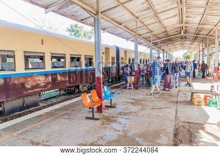 Nawnghkio, Myanmar - November 30, 2016: People On The Train Station In Nawnghkio Naunghkio, Naungcho