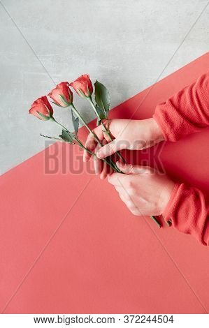 Flat Lay With Two Female Hands Holding Coral Roses On Diagonal Geometric Paper Background On Stone.
