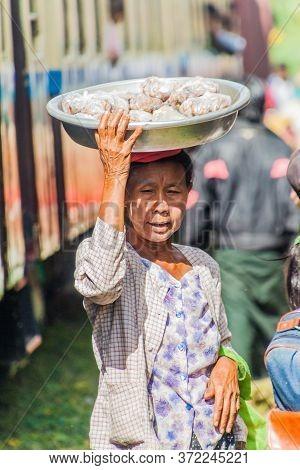 Naung Peng, Myanmar - November 30, 2016: Food Vendor On The Train Station In Naung Peng Near Gokteik