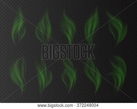 Realistic Green Smoke, Bad Smell Concept, Transparent Effect. Toxic Stinky Clouds.