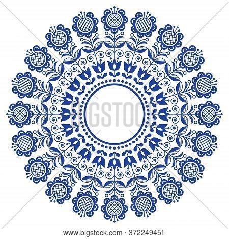 Scandinavian Folk Art Vector Mandala With Flowers, Floral Repetitve Ornament, Nordic Design With Flo