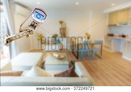 Multi-angle Cctv System Isolated From The Home, Living Room Background