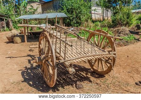 Wooden Cart In A Village In The Area Between Kalaw And Inle, Myanmar