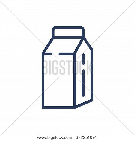 Milk Thin Line Icon. Carton Box, Package, Disposal Pack Isolated Outline Sign. Diary Product, Farmin