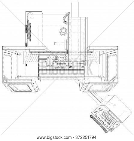 Milling Cnc Machine. Vector Wire-frame Isolated On Background. Vector Rendering Of 3d