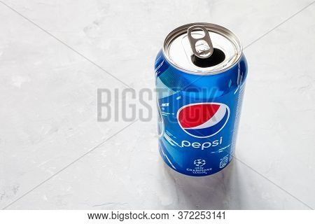 Moscow, Russia - June 17, 2020: Above View Of Open Can Of Pepsi With Logo Of Uefa Champions League O