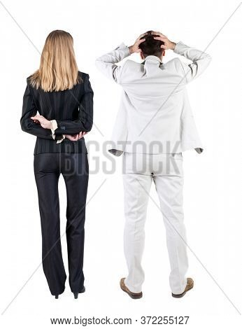 Back view of  business woman and business man in suit. Business team.  Rear view people collection. backside view of person. Isolated over white background.