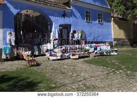 Viscri, Romania - April 29, 2018: Traditional Shop In Viscri, Fortified Town View In A Spring Day