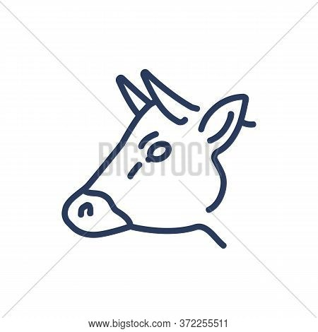 Head Of Cow Thin Line Icon. Cattle, Animal, Meat Isolated Outline Sign. Diary Product, Farming, Agri
