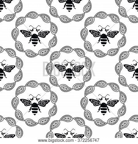 Stylized Honey Bee Seamless Vector Pattern Background. Formal Black And White Geometric Backdrop Wit