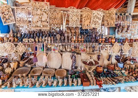 Inle, Myanmar - November 28, 2016: Woodcraft Souvenir Stall At Inle Lake, Myanmar