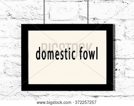 Black Wooden Frame With Inscription Domestic Fowl Hanging On White Brick Wall