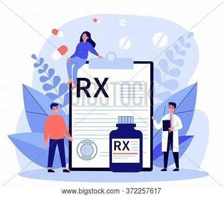 Pharmacist And Patients Presenting Rx Prescription. Doctor Recommending Painkiller Drugs. Illustrati