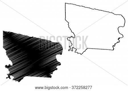 Coronie District (surinam, Republic Of Suriname) Map Vector Illustration, Scribble Sketch Coronie Ma