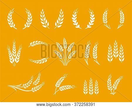 Wheat Spikes And Wreaths Food Set On Yellow