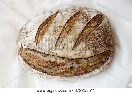 Sourdough Homemade Bread With Flax And Poppy Seeds. Whole Grain Wheat And Buckwheat Bread With Flax