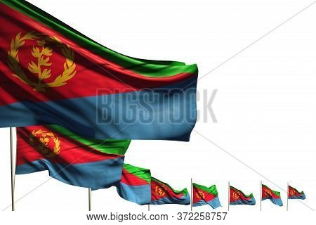 Cute Many Eritrea Flags Placed Diagonal Isolated On White With Place For Your Content - Any Holiday