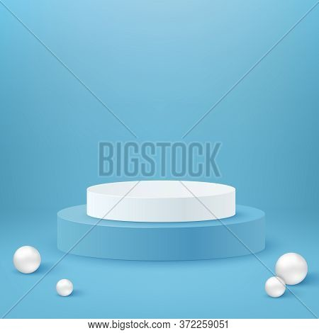 Realistic Cylinder Podium. White And Blue Round Podium Stage And 3d Exhibit Displays. 3d Geometric S