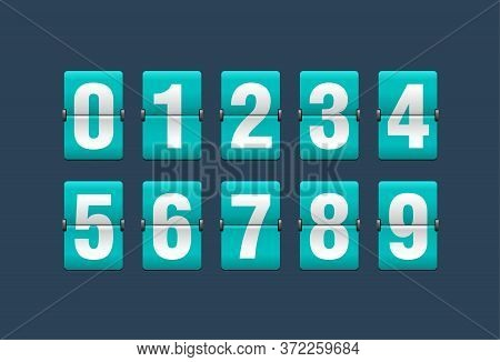 Flip Countdown Clock - Vector Digits - Turquoise Counter Timer, Time Remaining Count Down Scoreboard