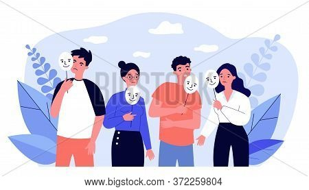 Depressed Guy And Girls Holding Positive Masks On Sticks. Sad People Covering Unhappy Faces. Illustr