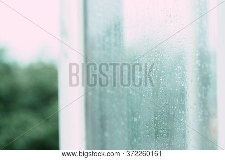 Raindrops On A Foggy Open Window.raindrops On A Foggy Open Window