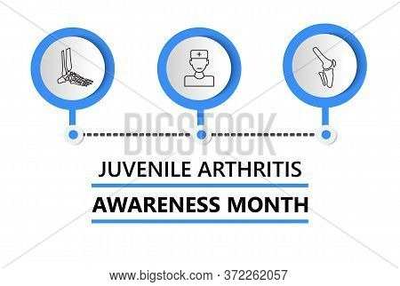 Juvenile Arthritis Awareness Month Is Celebrated In July. Doctor, Knee Joint, Foot Icon Of Info-grap