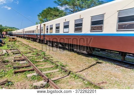 Train At A Local Station Near Gokteik Gok Teik Viaduct, Myanmar