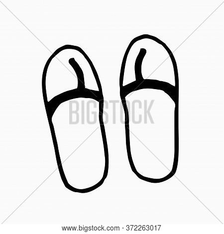 Summer Beach Flip Flops On Isolated Background. Beach Slops Icon. Flip Flops Symbol. Summer Sandals