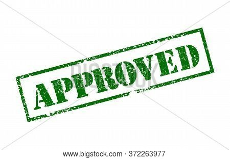 Approved Green Square Grunge Stamp Isolated In White Background. Vector Illustration. Agreement Stam