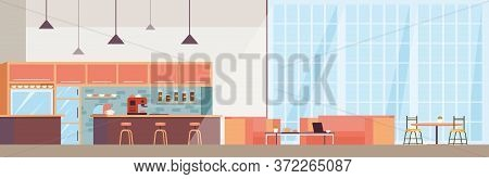 Modern Coffee Shop Interior. Cafe Space With Barista Counter, Coffee Maker Machine, Bar With Chairs,