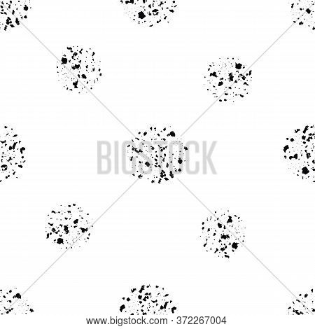 Abstract Moon Crater Vector Seamless Pattern Background. Black And White Backdrop With Scattered Gru