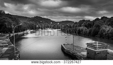 Large View By Wide Angle On Seine River In France, With Houseboats On The River, Parked. Vibrant Col