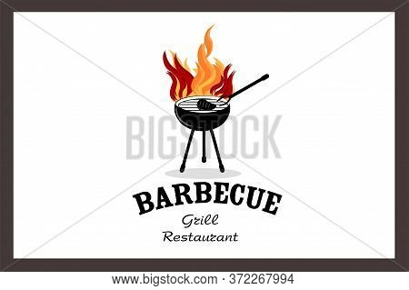 Restaurant, Barbecue Grill, Grilled Meat On The Grill With Grill, Serving Hot Meat On A Fire. Banner