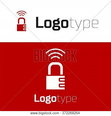 Red Smart Safe Combination Lock Icon Isolated On White Background. Combination Padlock. Security, Sa
