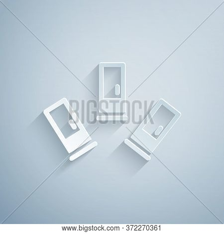 Paper Cut Cartridges Icon Isolated On Grey Background. Shotgun Hunting Firearms Cartridge. Hunt Rifl