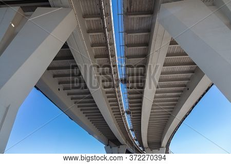 Bottom View Of The Reinforced Concrete Freeway Bridge