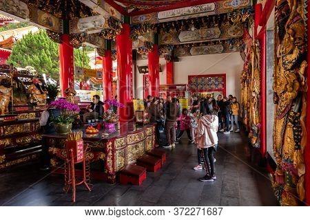 Nantou, Taiwan - December 9th, 2019: building interior of famous landmark of Wenwu temple in Sun Moon Lake, Nantou, Taiwan