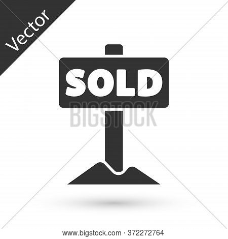 Grey Hanging Sign With Text Sold Icon Isolated On White Background. Sold Sticker. Sold Signboard. Ve