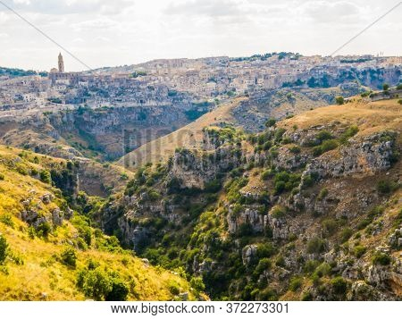 Viewpoint Of Matera And The Sassi In Murgia Timone, Basilicata, Italy
