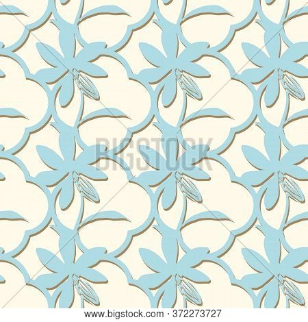 Quatrefoil With Flowers Seamless Vector Pattern. Simple Light Ornament Surface Print Design For Fabr