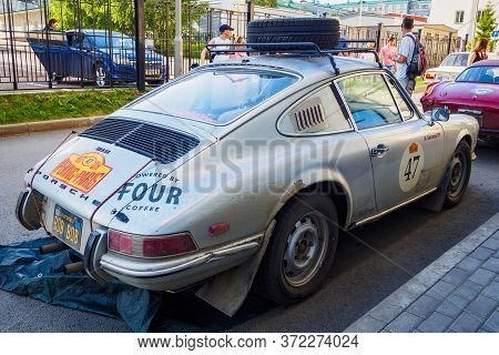 Back View Of Porsche 912, German Sports Car 1968. The 7th Peking To Paris Motor Challenge. Ufa, Russ