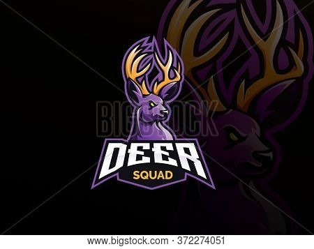 Deer Mascot Esport Logo Design. Deer Animal Mascot Vector Illustration Logo. Wild Antler Mascot, Emb