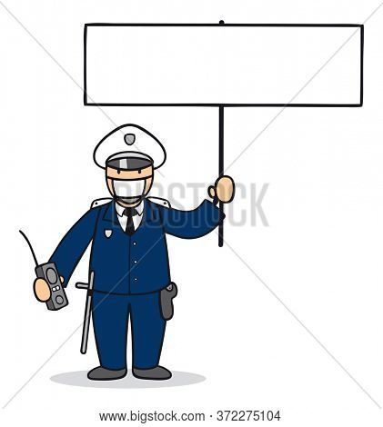 Cartoon police officer with police mask and sign for protest demand