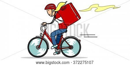 Cartoon woman working for food delivery service for gastronomy on bike
