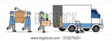 Moving helpers from moving companies load boxes into vans